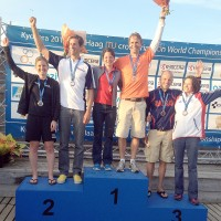Brad taking the bronze medal at the world championships (right)  Photo: Parsons News Leader