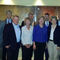 TDS government affairs team hosted dinner with US Senator Tammy Baldwin while in Washington, DC. Senator Baldwin is a signatory to the letter sent to the FCC urging universal service support for standalone broadband. Picture (l to r, front row): Jeff Handley, Tom McCabe, Gail Long, US Senator Tammy Baldwin, Jean Pauk, and Tom Murray; (l to r, back row): Bruce Mottern, Jim Meade, Drew Petersen, and Paul Pederson.