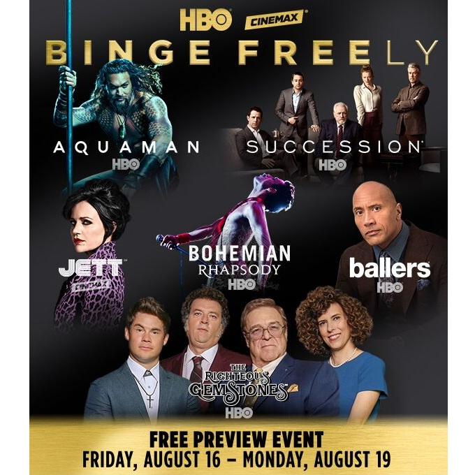 Free HBO and Cinemax free preview event, Aug  16-Aug  20
